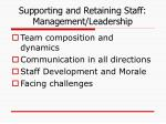 supporting and retaining staff management leadership