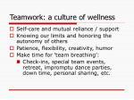 teamwork a culture of wellness