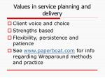 values in service planning and delivery