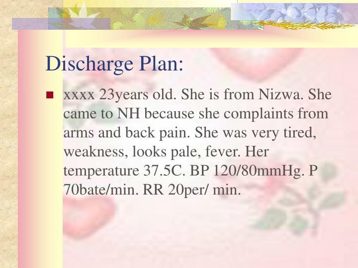 Discharge Plan: