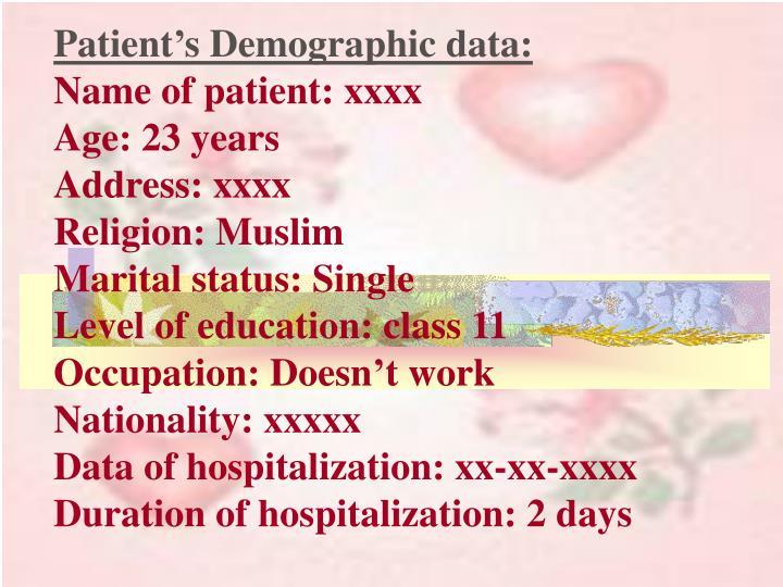 Patient's Demographic data: