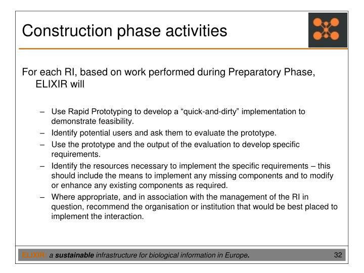Construction phase activities