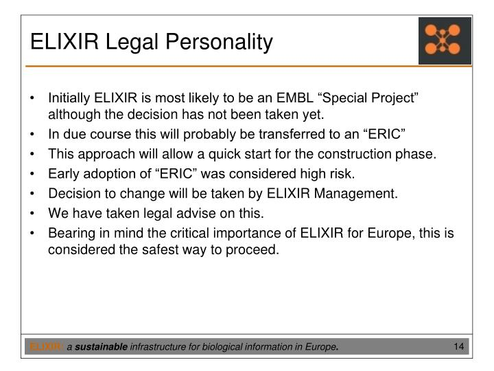 ELIXIR Legal Personality