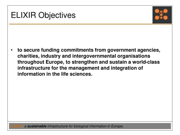 ELIXIR Objectives