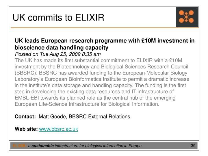 UK commits to ELIXIR