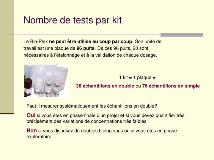 Nombre de tests par kit