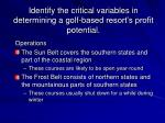 identify the critical variables in determining a golf based resort s profit potential