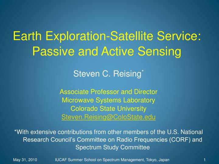 earth exploration satellite service passive and active sensing n.