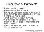 preparation of ingredients
