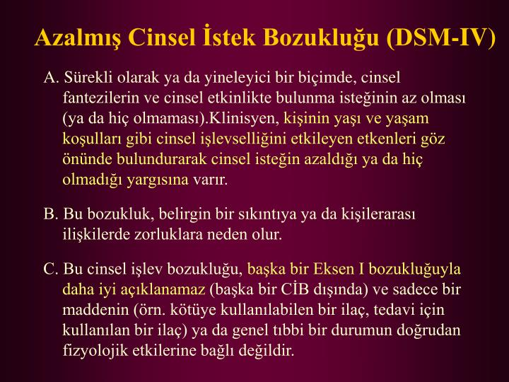 Azalmış Cinsel İstek Bozukluğu (DSM-IV)