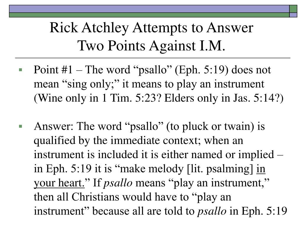 Rick Atchley Attempts to Answer