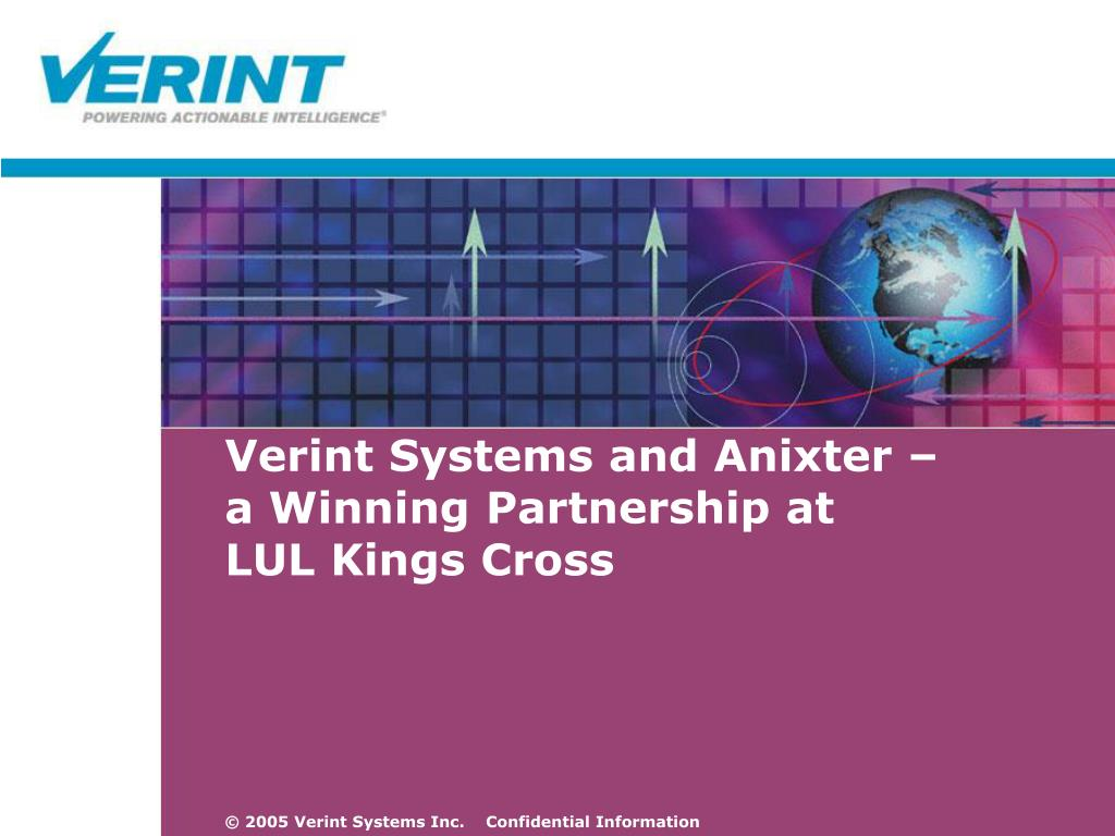 PPT - Verint Systems and Anixter – a Winning Partnership at LUL