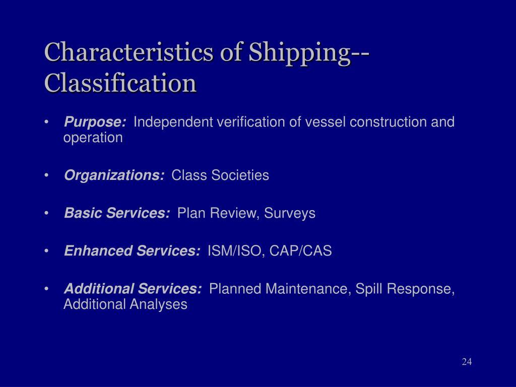 Characteristics of Shipping--Classification