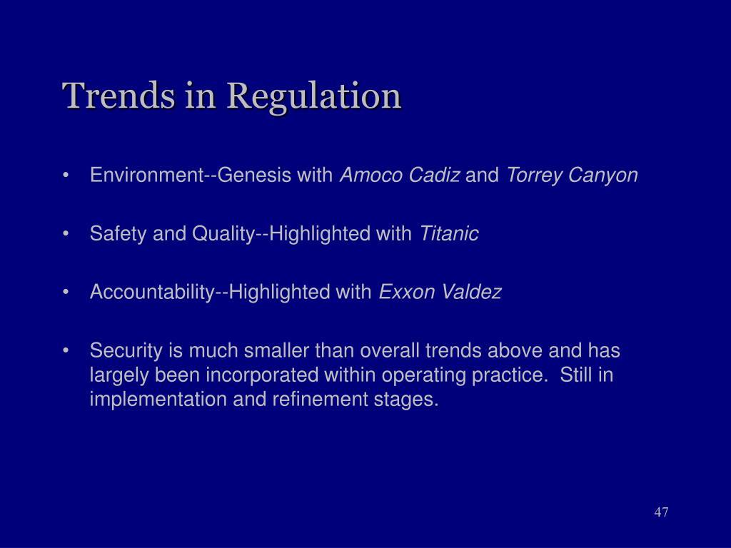 Trends in Regulation