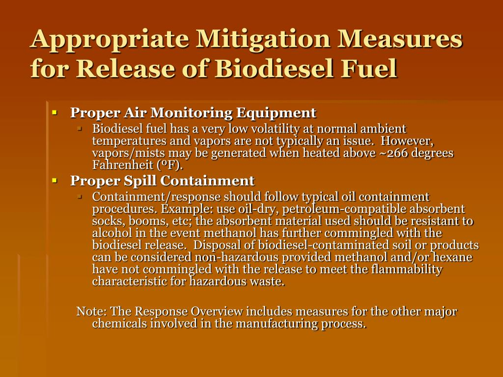Appropriate Mitigation Measures for Release of Biodiesel Fuel
