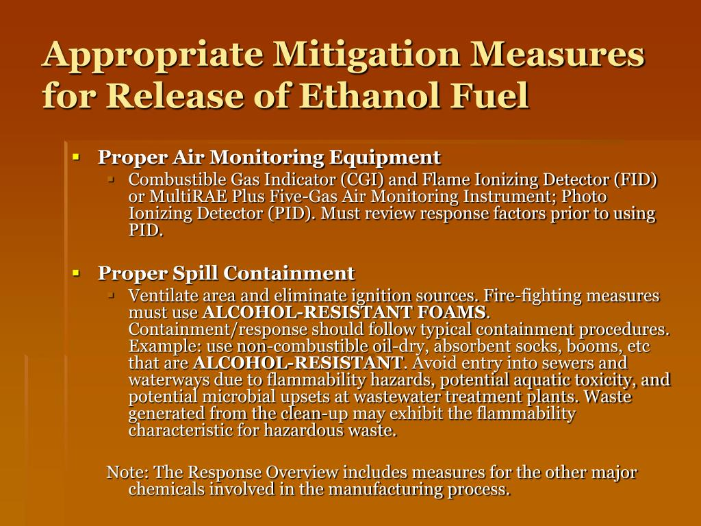 Appropriate Mitigation Measures for Release of Ethanol Fuel