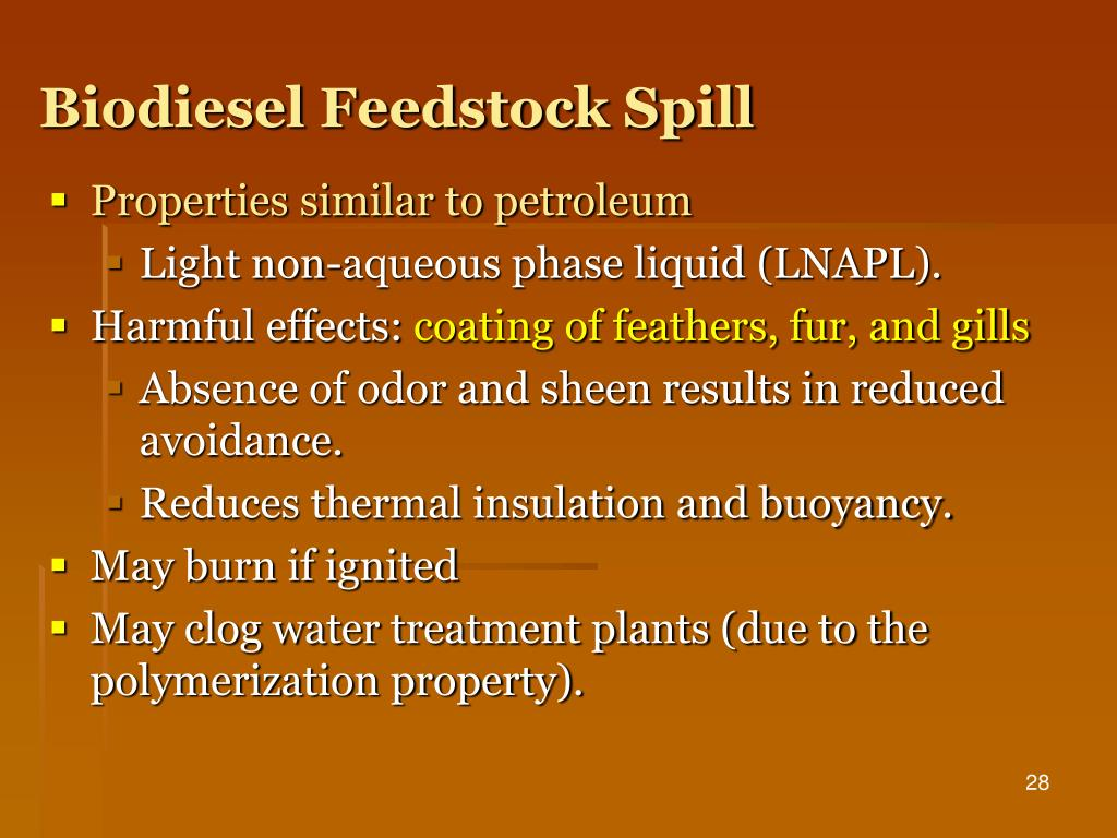 Biodiesel Feedstock Spill
