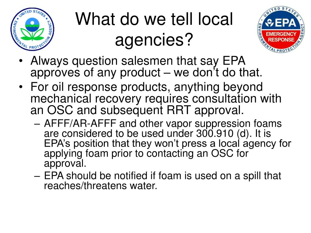 What do we tell local agencies?