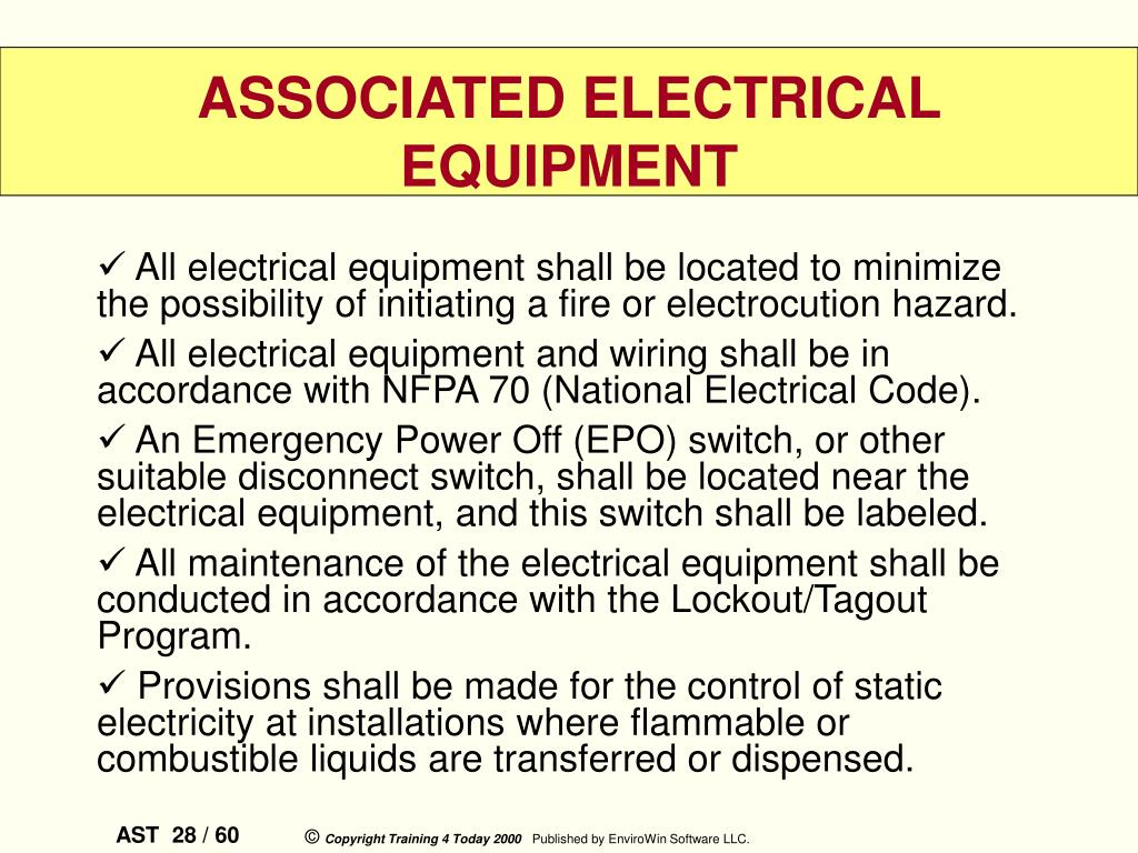 All electrical equipment shall be located to minimize the possibility of initiating a fire or electrocution hazard.