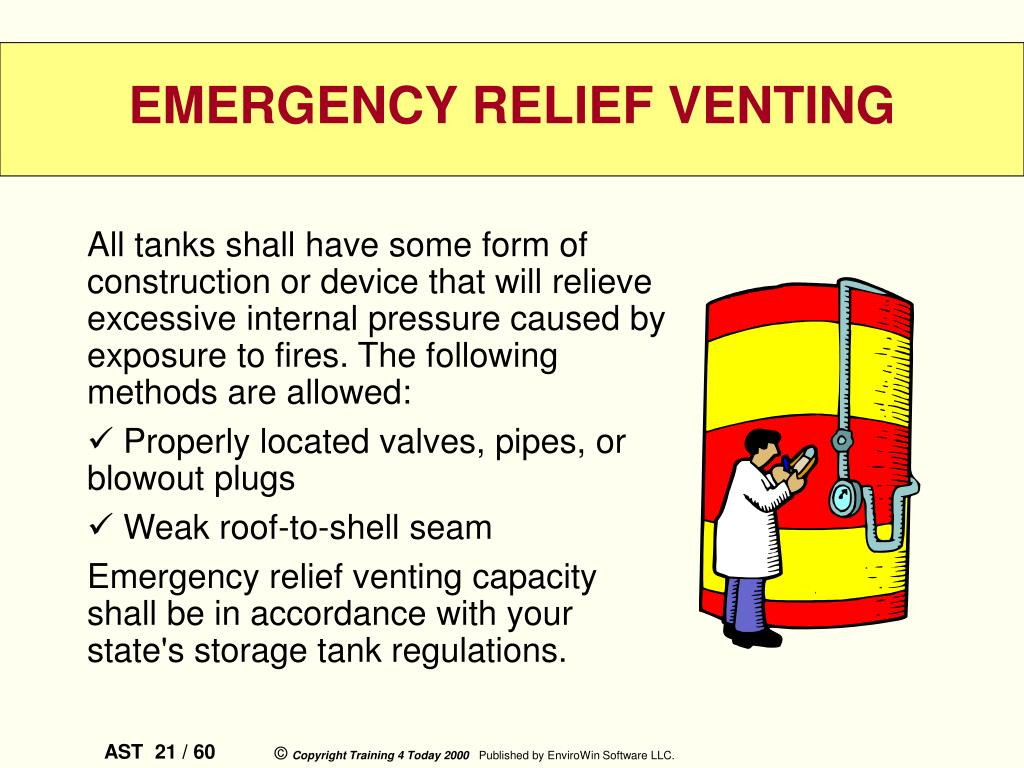 All tanks shall have some form of construction or device that will relieve excessive internal pressure caused by exposure to fires. The following methods are allowed:
