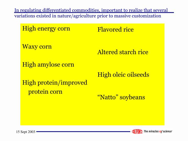 In regulating differentiated commodities, important to realize that several variations existed in nature/agriculture prior to massive customization