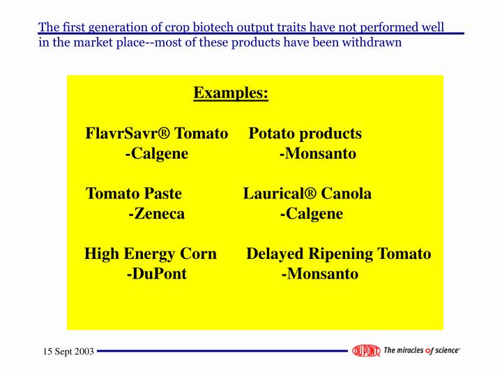 The first generation of crop biotech output traits have not performed well in the market place--most of these products have been withdrawn