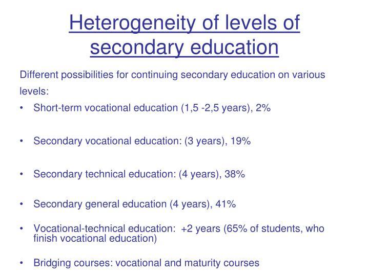 Heterogeneity of level