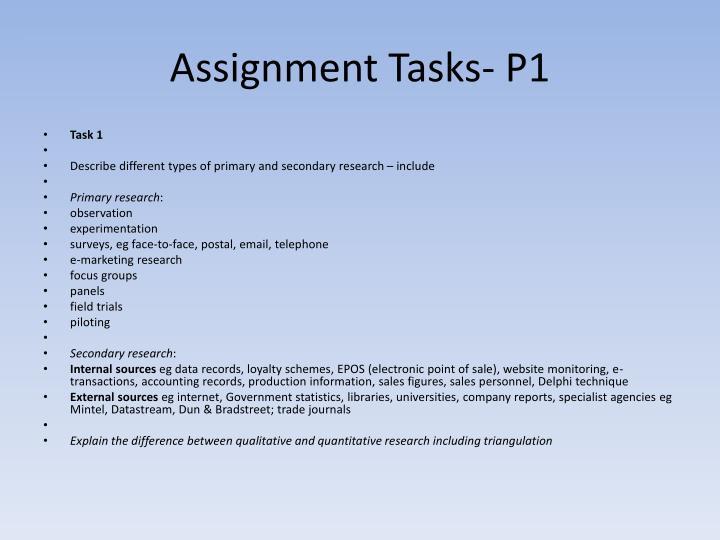 Assignment Tasks- P1