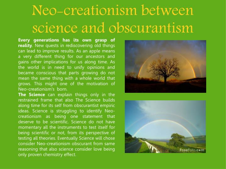 neo creationism between science and obscurantism n.
