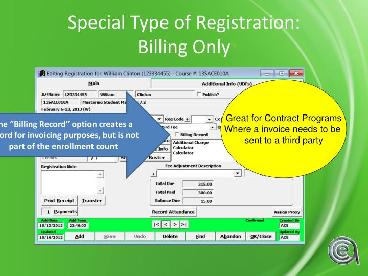 Special Type of Registration: