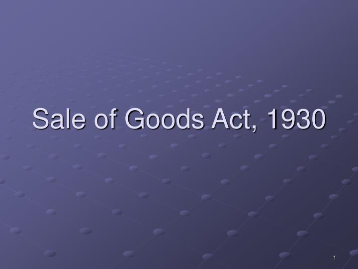 sale of goods act 1930 n.