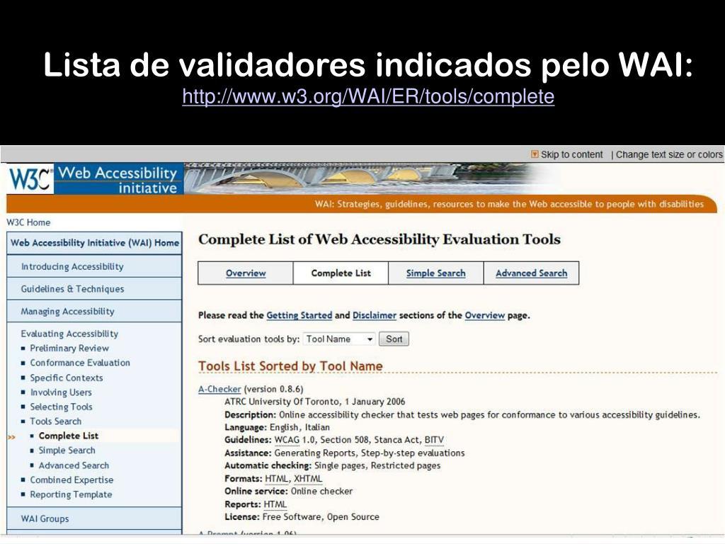 Lista de validadores indicados pelo WAI: