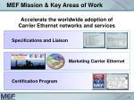 mef mission key areas of work