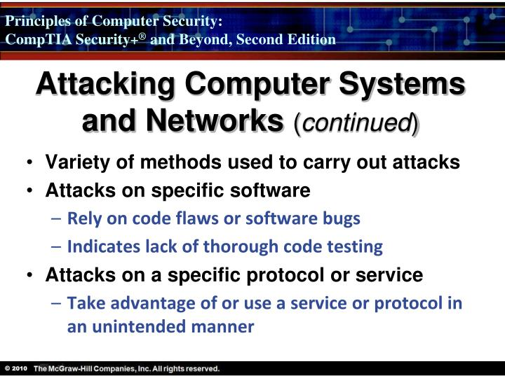 Attacking Computer Systems and Networks