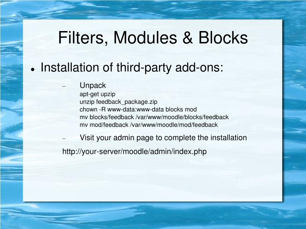 Filters, Modules & Blocks
