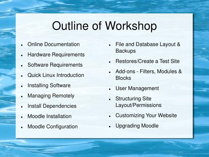Outline of workshop