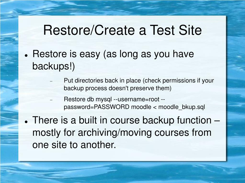 Restore/Create a Test Site