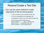restore create a test site24