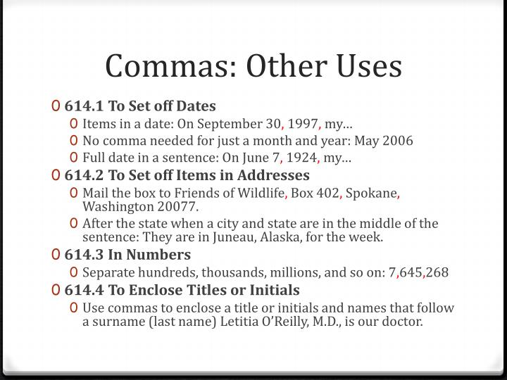 Commas: Other Uses