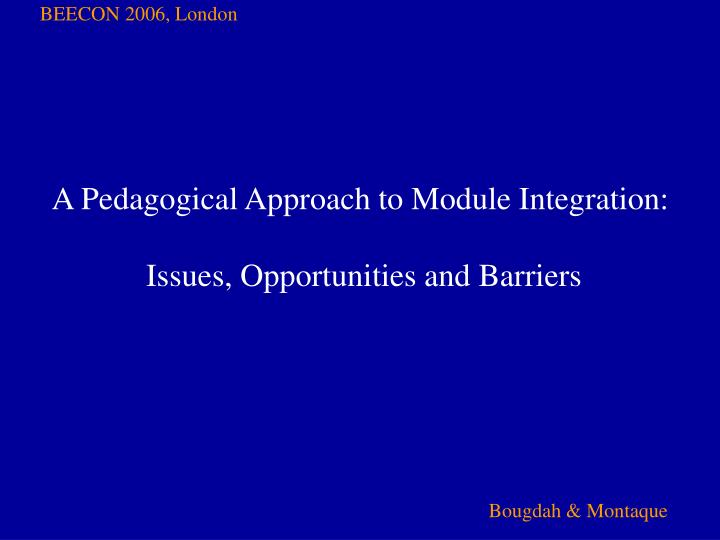 a pedagogical approach to module integration issues opportunities and barriers n.
