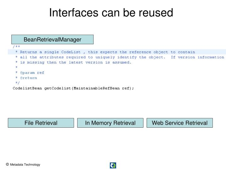 Interfaces can be reused
