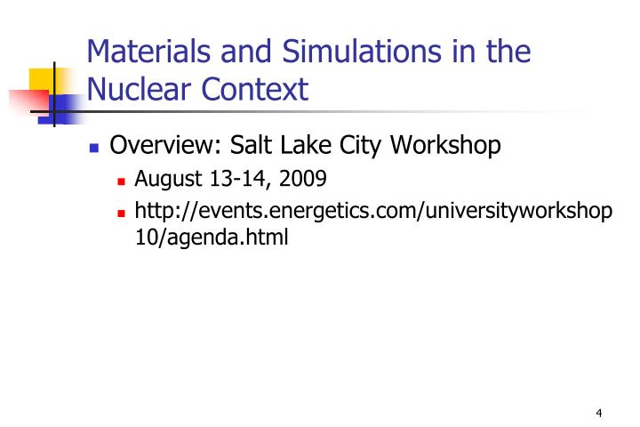 Materials and Simulations in the