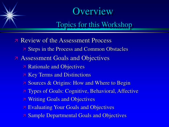 Overview topics for this workshop