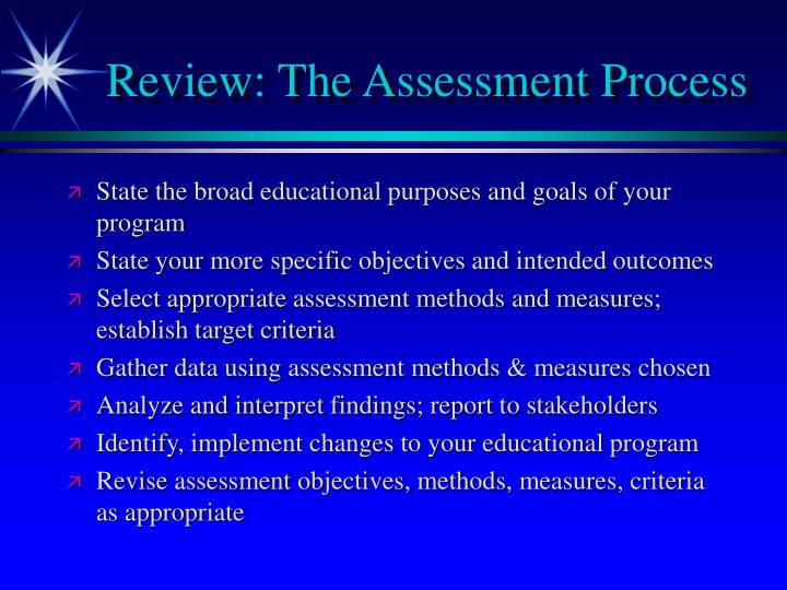 Review the assessment process