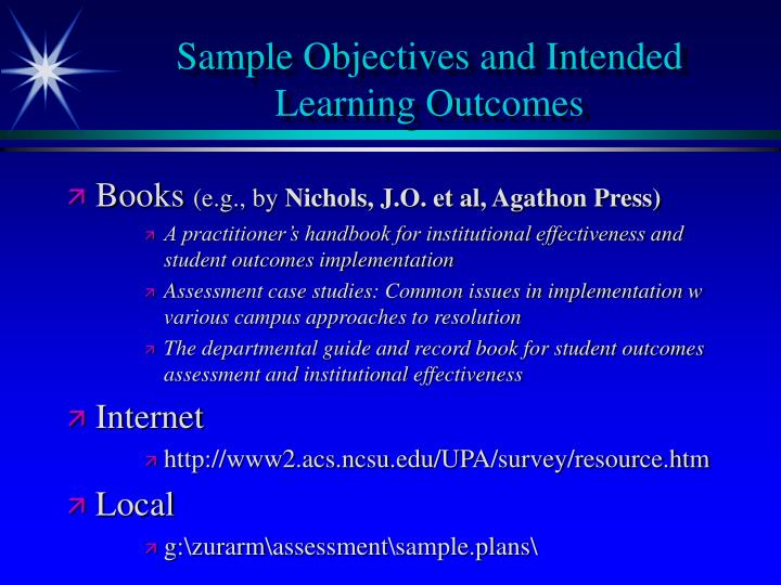 Sample Objectives and Intended Learning Outcomes
