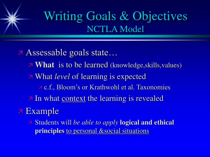 Writing Goals & Objectives