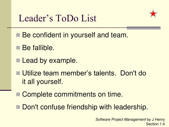 Leader's ToDo List