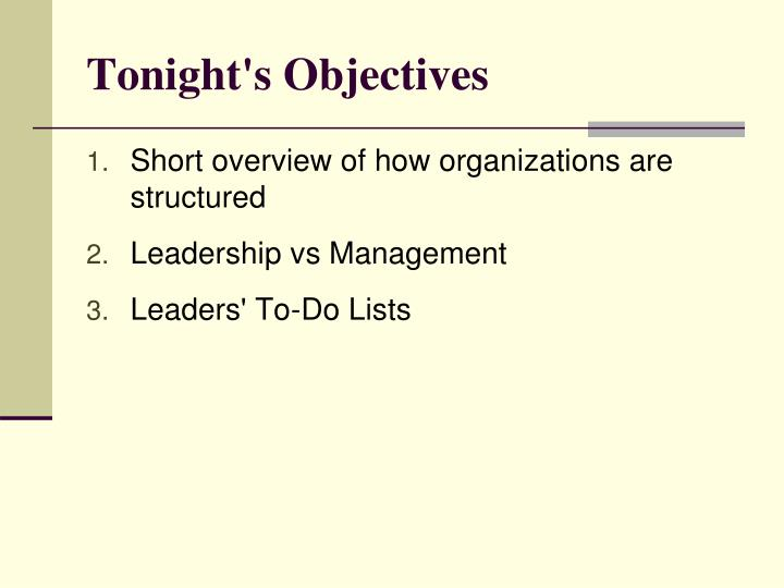 Tonight s objectives