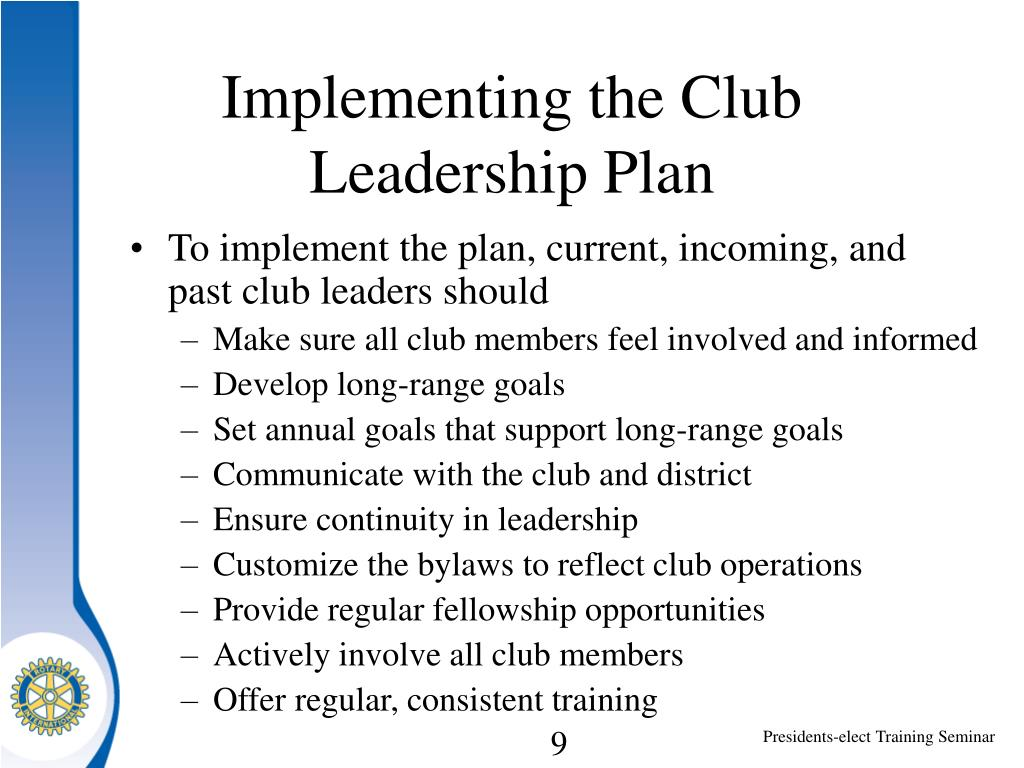 Implementing the Club Leadership Plan