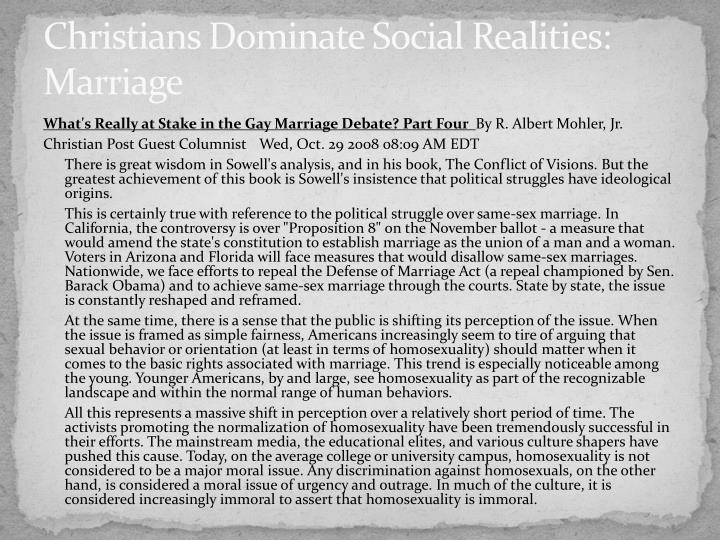 Christians Dominate Social Realities: Marriage